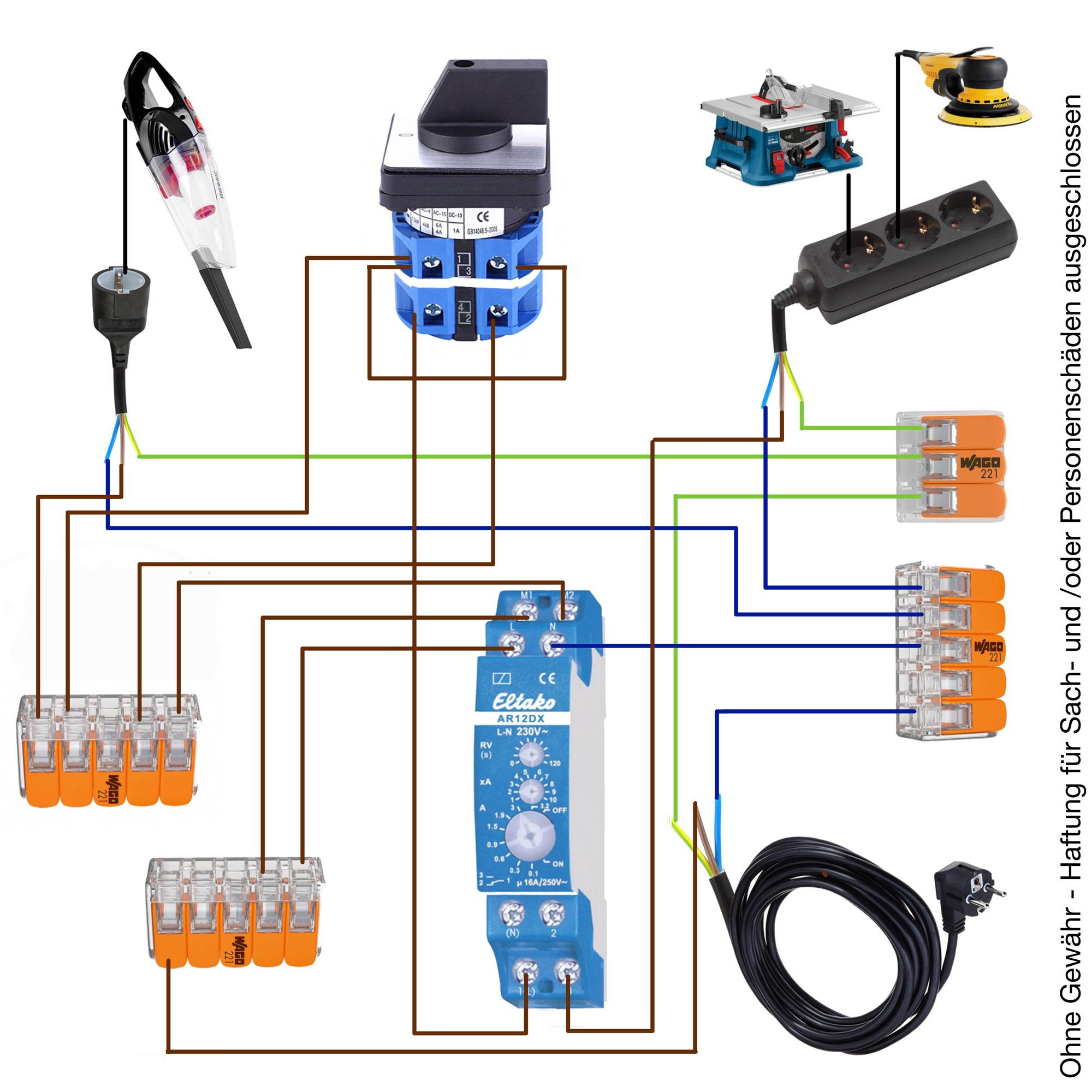 Zeichnung Schaltplan Einschaltautomatik mit Eltako AR12DX und Nockenschalter, Drehschalter, Wechselschalter